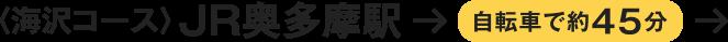 〈海沢コース〉JR奥多摩駅→自転車で約45分